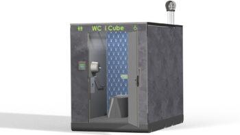 Toilettes publiques décor pierre de lave