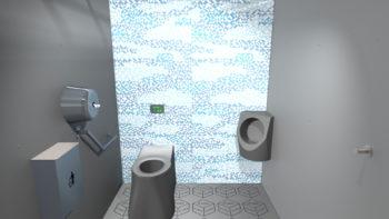 Intérieur des WC publics i Cube® avec le décor tamgram